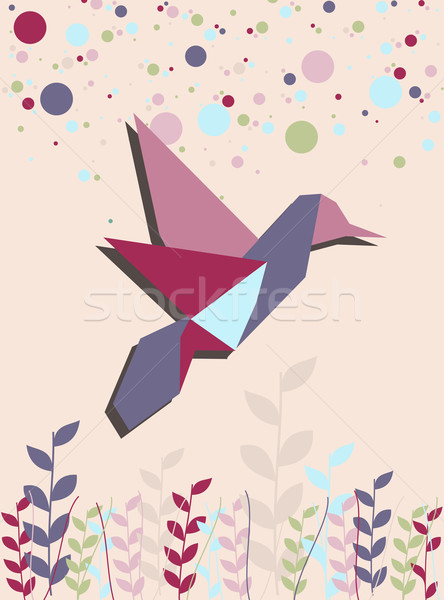 Stock photo: Single Origami hummingbird in pink