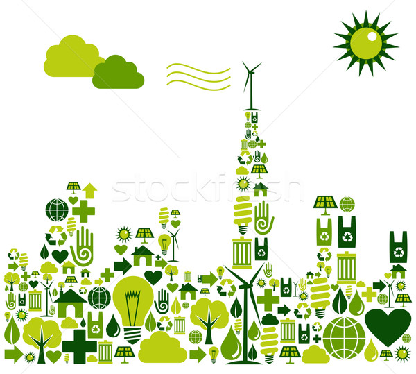 Stock photo: Green City silhouette with environmental icons
