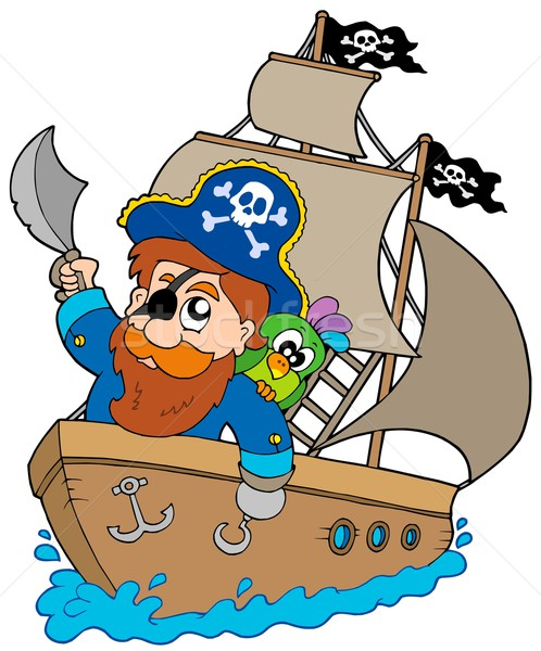 Stock photo: Pirate sailing on ship