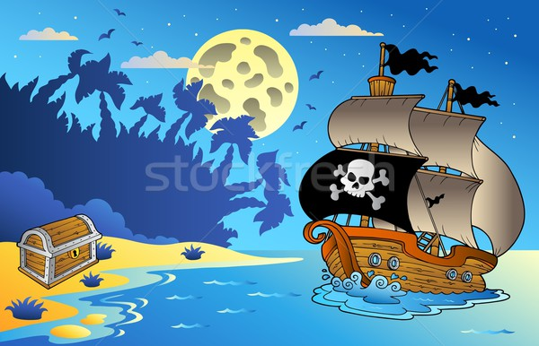 Stock photo: Night seascape with pirate ship 1