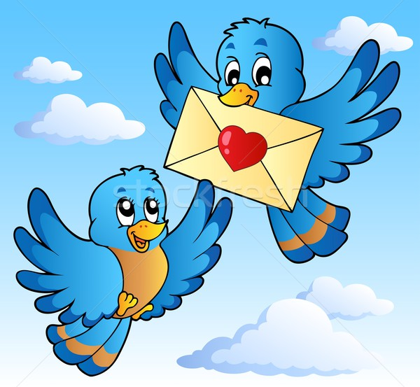 Stock photo: Two cute birds with love letter 1