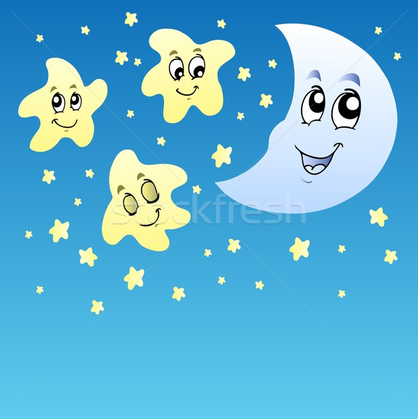 Night sky with cute stars and moon vector illustration