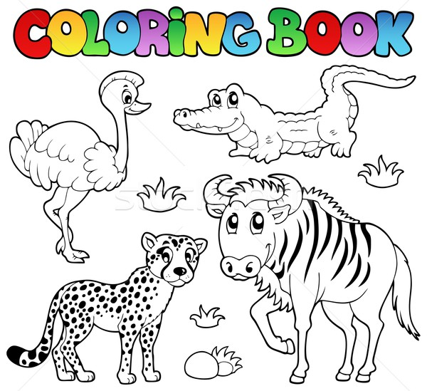 Stock photo: Coloring book savannah animals 2