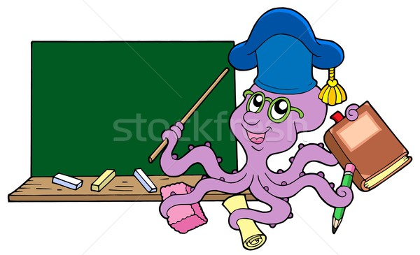 Stock photo: Octopus teacher with blackboard