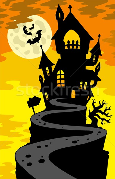Stock photo: Haunted house silhouette on hill