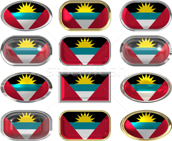 Stock photo: twelve buttons of the Flag of antigua barbuda