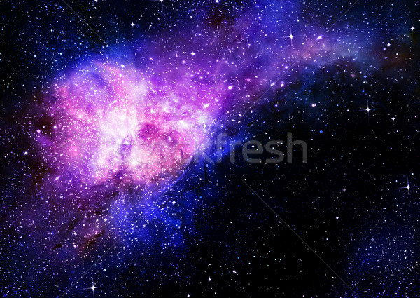 starry deep outer space nebula and galaxy - stockfoto © Phil ...