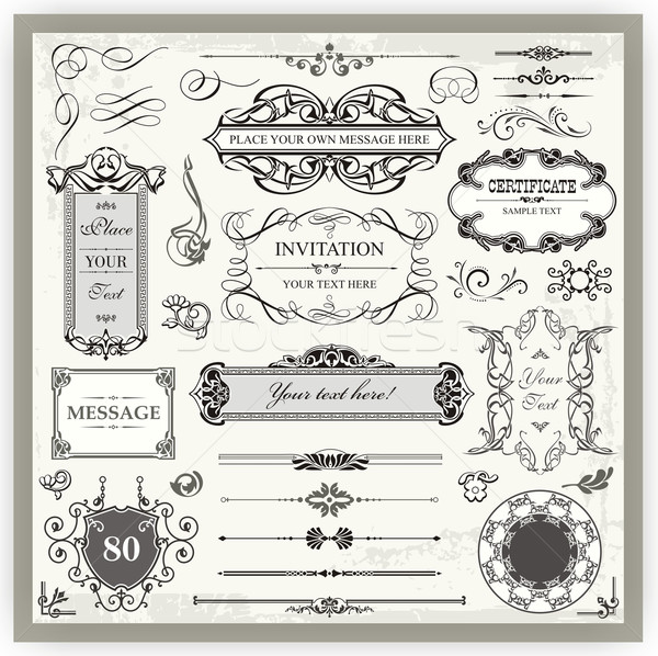 Stock photo: Vintage ornamental and page decoration calligraphic designs set.