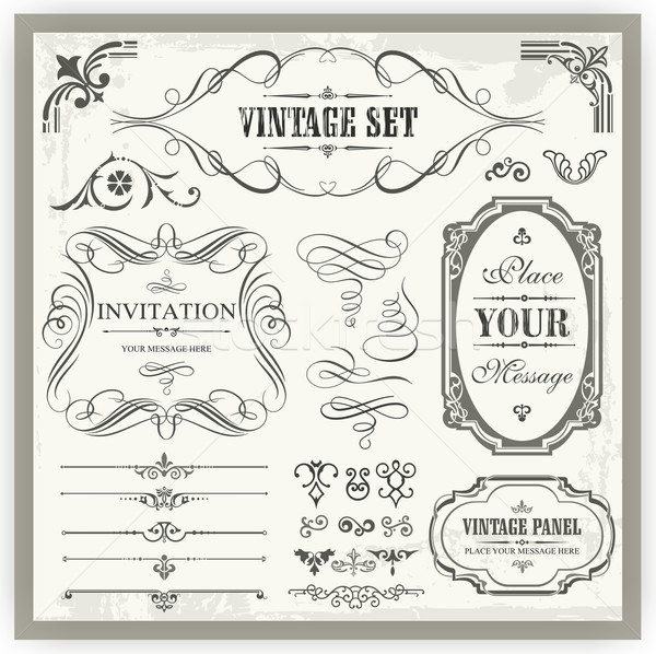 Stock photo: Vector set of vintage ornamental and page decoration calligraphic designs.
