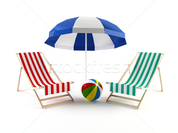 Stock photo: Beach chairs and umbrella