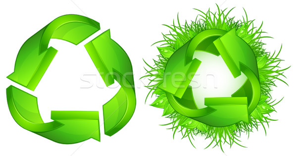 Stock photo: Green recycle signs