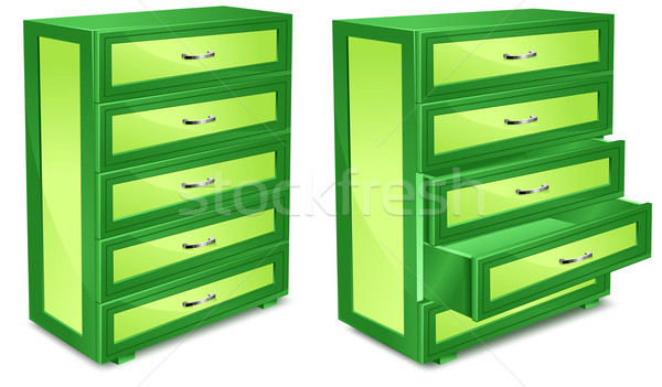 Stock photo: Wooden commode in green
