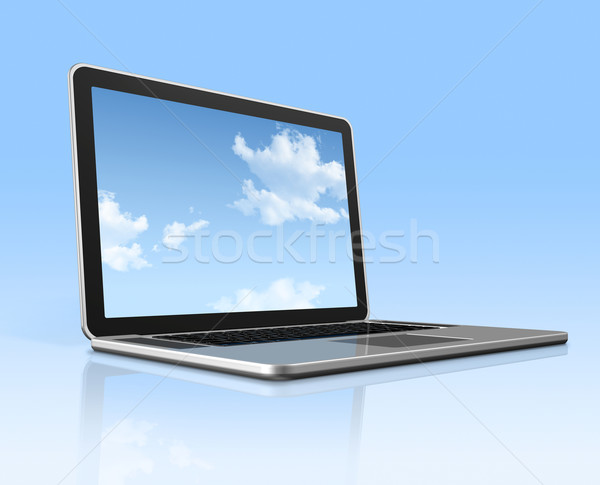 Stock photo: Laptop computer with sky screen isolated on blue