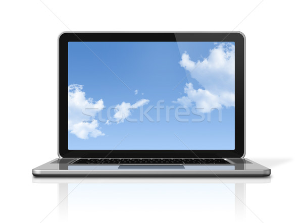 Stock photo: Laptop computer with sky screen isolated on white