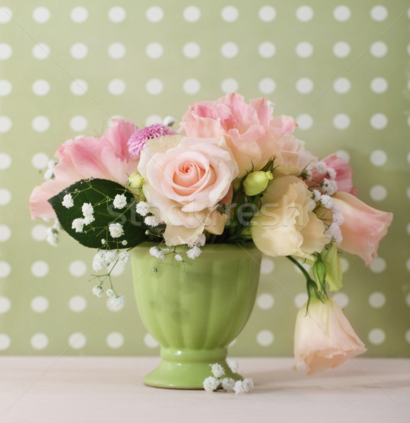 Stock photo: Bouquet of white and pink roses