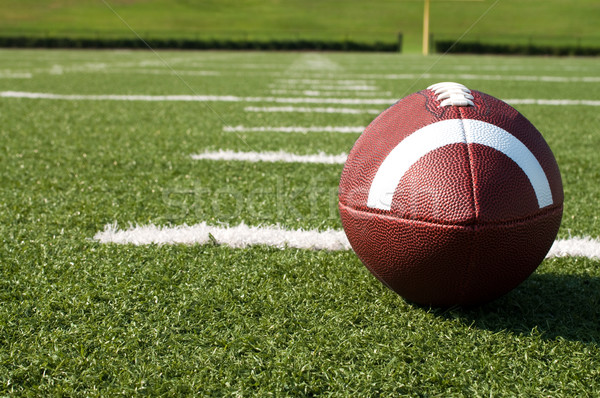 Stock photo: Closeup of American Football on Field