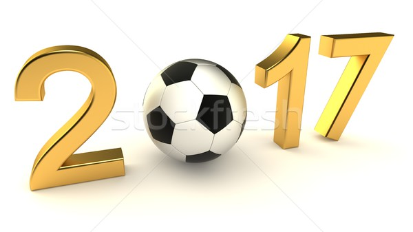 Stock photo: Year 2017 soccer ball