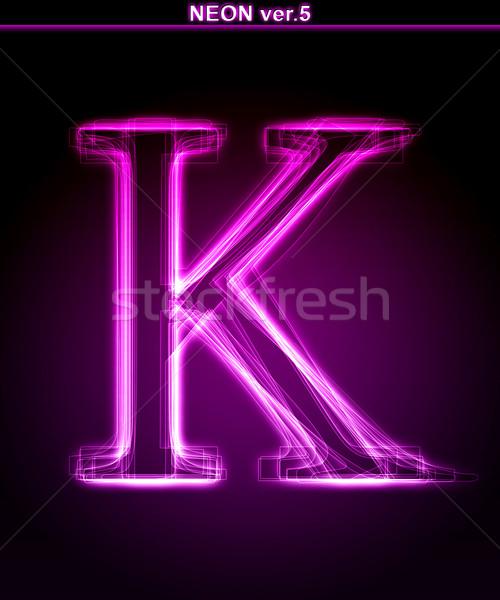 Stock photo : Glowing neon letter on black background. Letter K. (Full ...