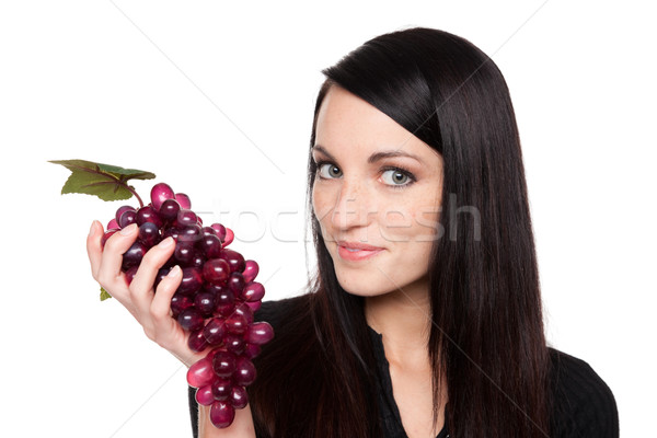 Stock photo: Produce - fruit woman with red grapes