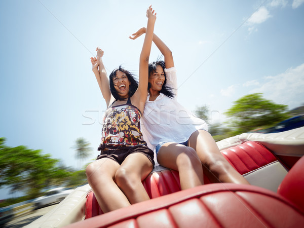 Stock photo: beautiful twin sisters having fun in cabriolet car