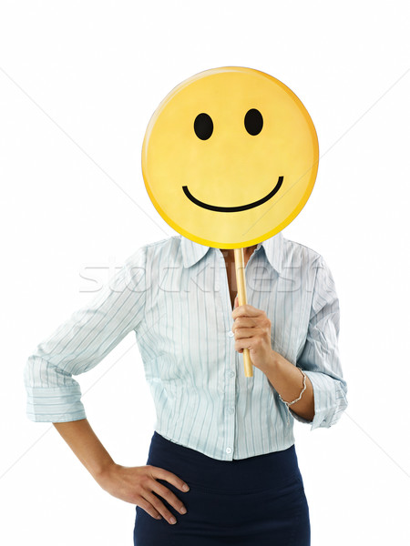 Stock photo: businesswoman with emoticon