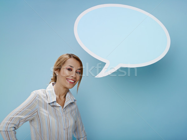 Stock photo: businesswoman with think balloon