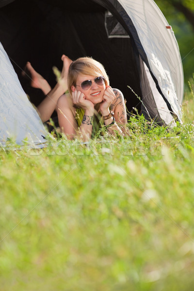 Stock photo: woman in tent