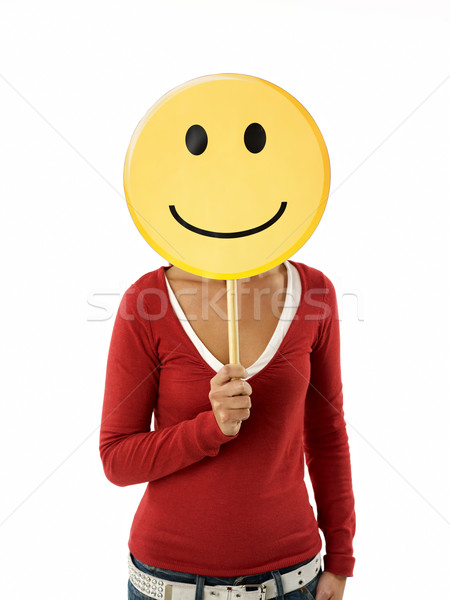 Stock photo: woman with emoticon
