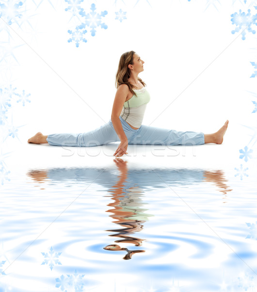 Stock photo: hanumanasana monkey pose on white sand