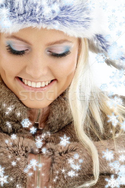 Stock photo: winter girl with snowflakes