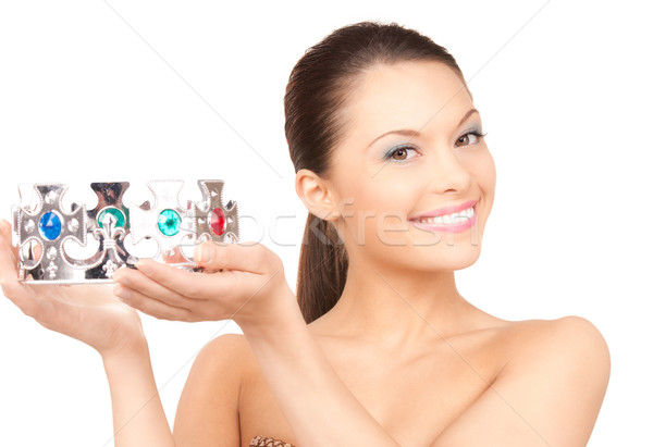 Stock photo: lovely woman in crown