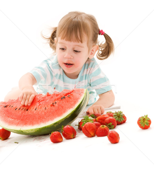 watermelon girl pics. Stock photo: little girl with