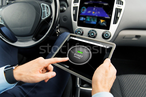 Stock photo: close up of man with tablet pc in car