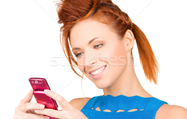 Stock photo: happy woman with cell phone