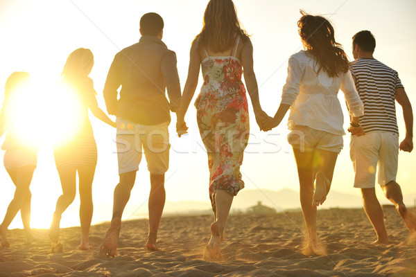 Stock photo: happy young  people group have fun on beach