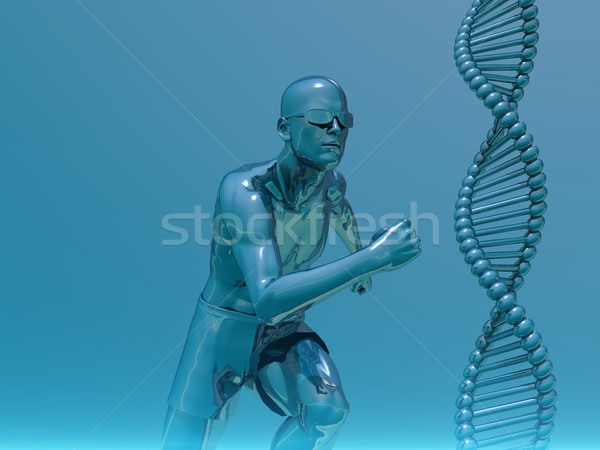 Stock photo: running man and helix