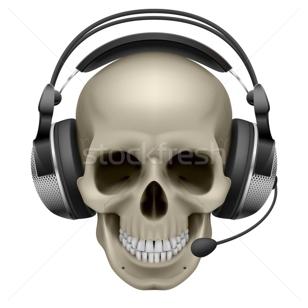 Stock photo: Skull with headphones