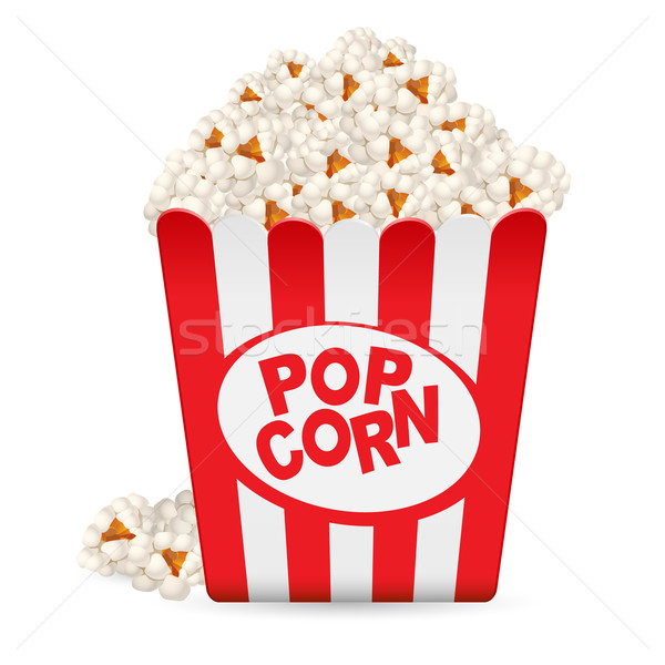 Stock photo: Popcorn in a striped tub