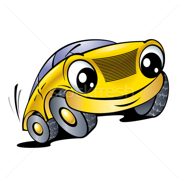 funny yellow car vector illustration dvarg 1153840. Black Bedroom Furniture Sets. Home Design Ideas