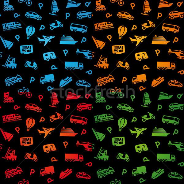 Stock photo: Seamless black background, transport icons