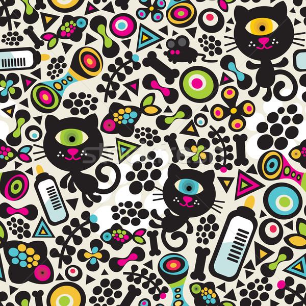 Stock photo: Cute monsters cats seamless pattern.