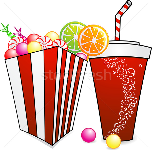 Stock photo: pick and mix sweets and a soda