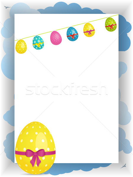 Stock photo: Easter portrait panel copy space with bunting and egg