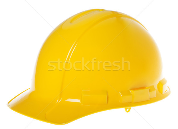 45° view of a yellow hard hat, isolated on white background.