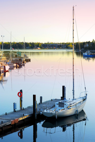 Stock photo: Yacht at sunrise