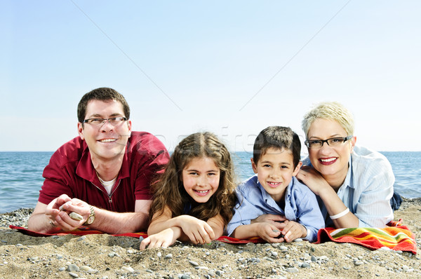 Stock photo: Happy family at beach