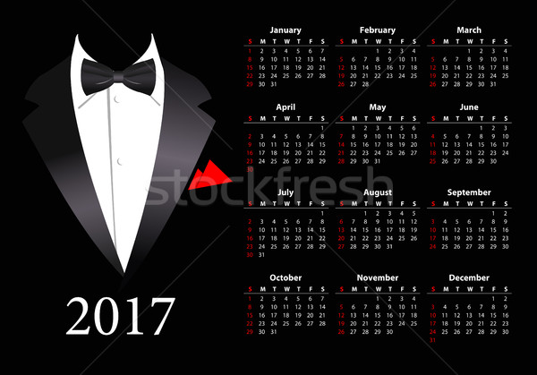 Stock photo: Vector American calendar 2017 with elegant suit