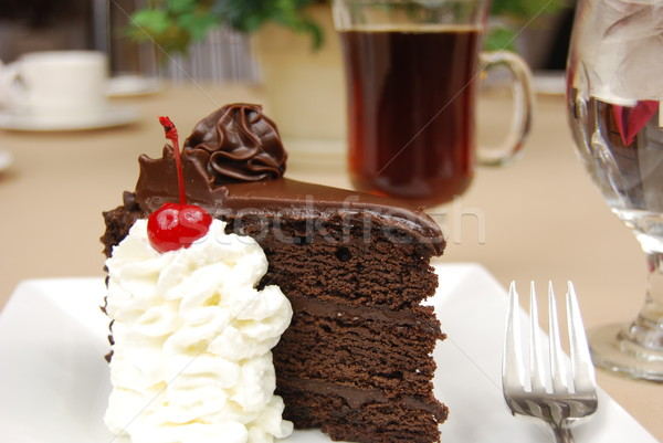 Stock photo: Chocolate cake and coffee