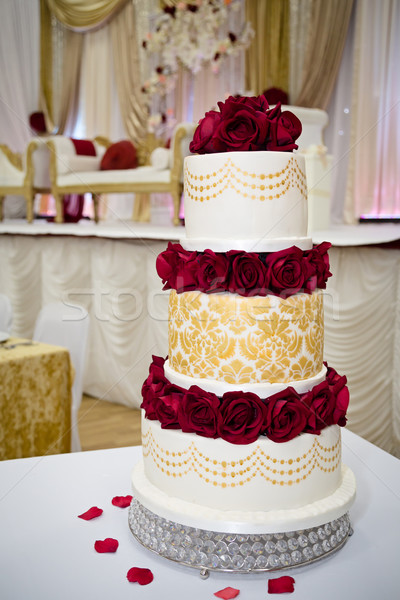 red and gold wedding cake pictures and gold themed wedding cake stock photo 19079