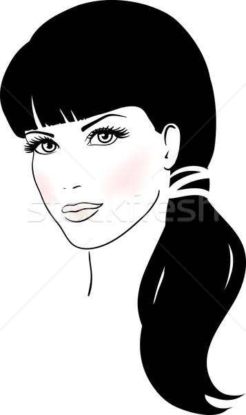 Beautiful Cute Girl Face Vector illustration vector ...